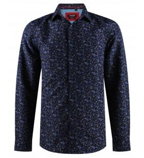 Chemise noire à motifs bleu FLOREO en slim fit