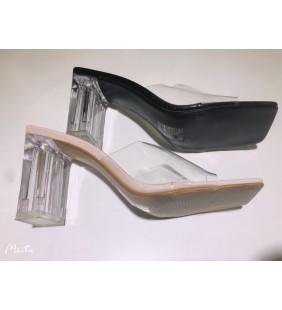 Sandal à talon transparent